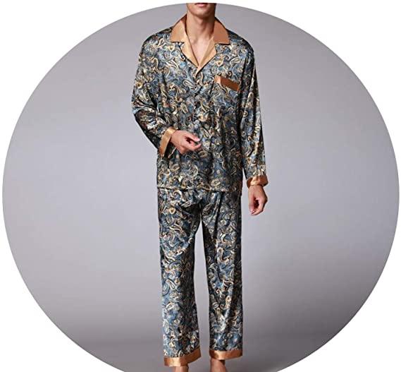 New Luxury Pajamas Men Paisley Pattern Sleepwear Silk Long-Sleeved .