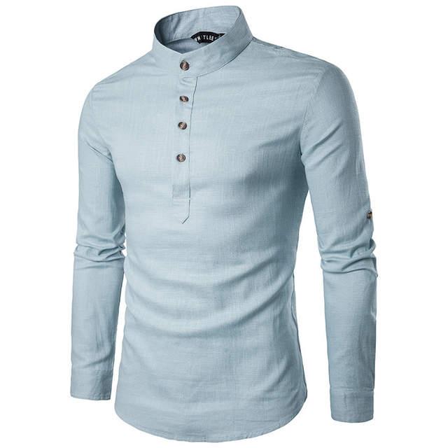 2019 New Vertical Collared Linen Men's Shirts Hemp Mixed Type .