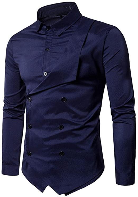 WM & MW Men Fancy Shirt, Mens Shirts Double-Breasted Lapel Long .