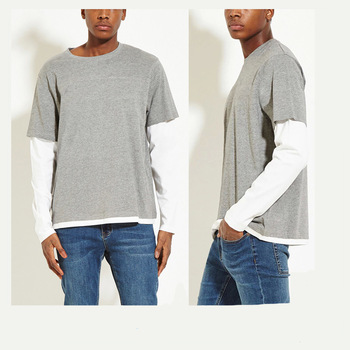 Layered Cotton-blend Tee Sport T-shirt Long Sleeve Fake Two Pieces .