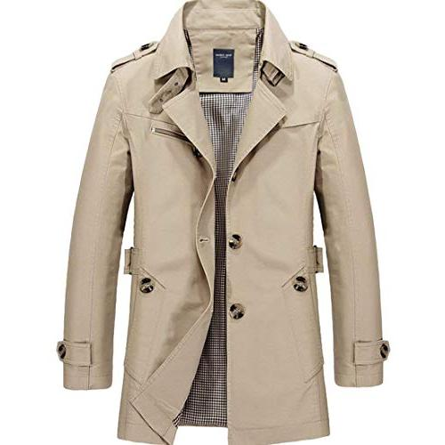 MICHAELAN Mens Trench Coat Single Breasted Lightweight Jack
