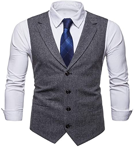 STTLZMC Mens Casual Dress Vests 4 Button Tailored Collar Tweed .