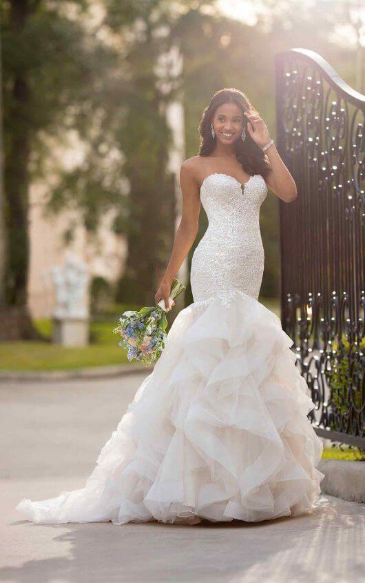Mermaid Wedding Dress with Layered Horsehair Skirt - Stella York .