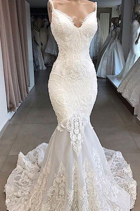 278.39] Elegant Tulle Spaghetti Straps Neckline Mermaid Wedding .