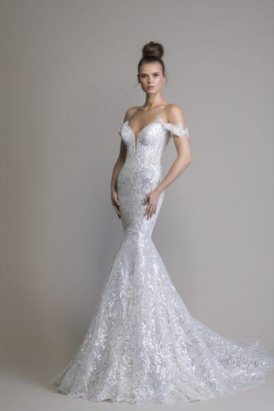 Off The Shoulder Sequin Mermaid Wedding Dress | Kleinfeld Brid