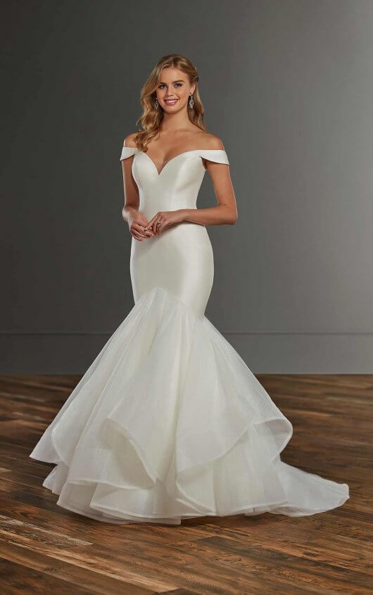 Modern Mermaid Wedding Gown with Tiered Skirt - Martina Lia