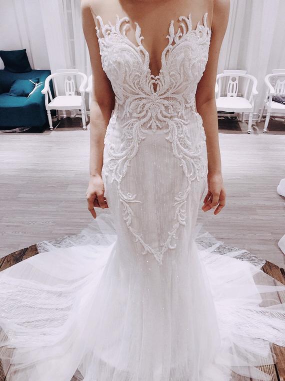 Sparkly Mermaid Wedding Dress Luxury Even/Evening Gown/ | Et