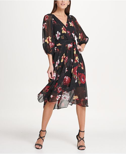 DKNY Balloon Sleeve Chiffon Midi Dress & Reviews - Dresses .
