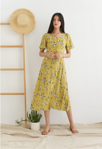 Summer Sunset Open-Back Print Midi Dress in Mustard - Retro, Indie .