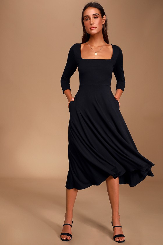 Black Midi Dress - Three-Quarter Sleeve Dress - A-Line Midi Dre