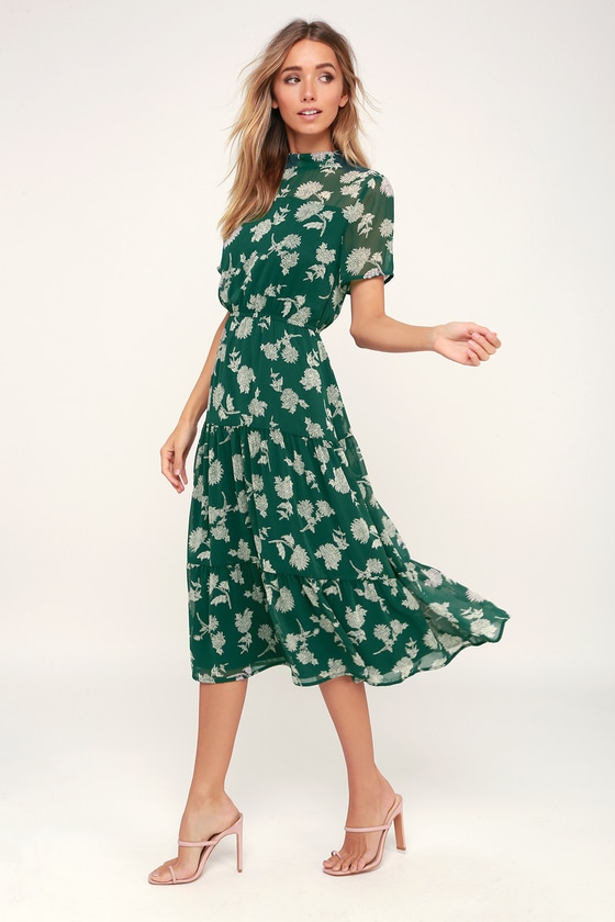 Dark Green Floral Print Dress - Midi Dress - Short Sleeve Dre