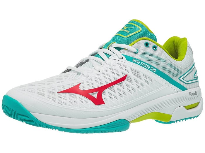 Mizuno Wave Exceed Tour 4 Clay White/Red Women's Shoes - Tennis .