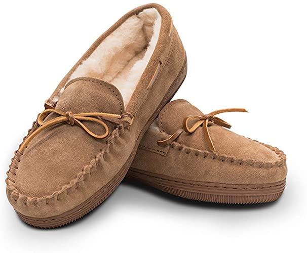 Amazon.com | Women's Genuine Suede Leather Faux Fur Lined Moccasin .