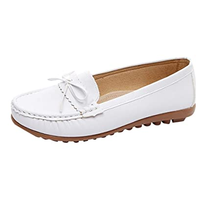 Amazon.com: Womens Casual Leather Moccasins Shoes Bow Peas Slip-On .