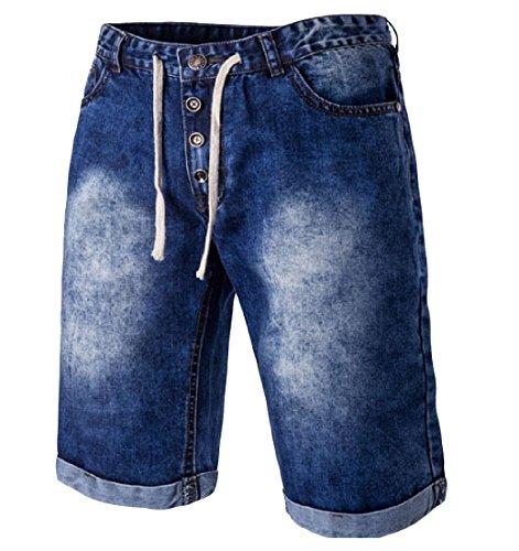 Zimaes Men Vintage Washed Relaxed-Fit Modern Denim Jean Shorts .