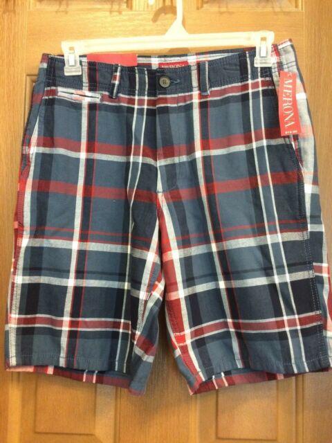 Merona Modern Flat Front Navy and Red Plaid Bermuda Shorts Mens .