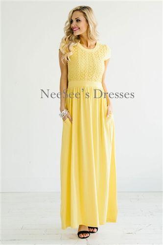 Yellow Lace Maxi Modest Dress Bridesmaids Dress, Church Dresses .