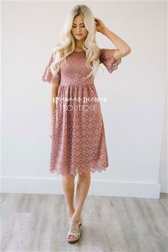 Pretty Mauve Scallop Lace Modest Dress | Best Online Modest .