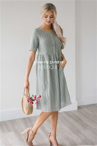 Dusty Sage Eyelet Lace Button Front Sundress , Modest Dress .