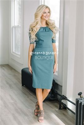 Stone Blue Classy Modest Church Dress, Church Dresses, dresses for .