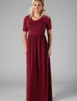 Modest Dresses : MK23767 burgundy *Buy one, get one FREE* - FINAL .