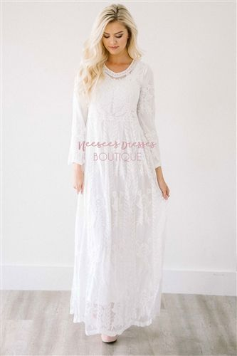 White Maxi Floral Lace Modest Dress Bridesmaids Dress, Church .