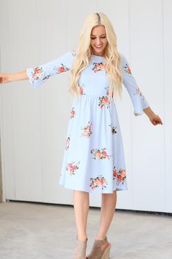 Affordable Modest Dresses : MK24512 Light Blue Floral – LatterDayBri