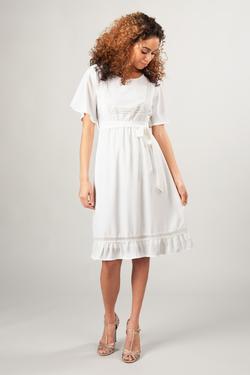 Modest Dresses for Bridesmaids : MDS2070 White – LatterDayBri