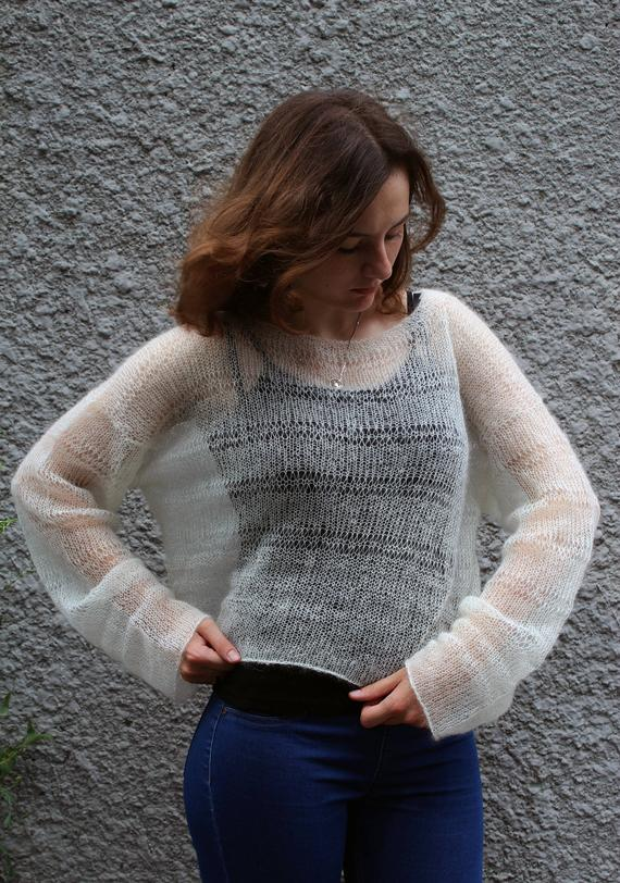 Cropped mohair sweaters off white Bohemian clothing Loose knit | Et