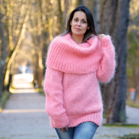 Super Sexy Hand Knit Mohair Sweater Light Pink color Fuzzy Cowl .