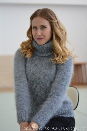 Classic cabled Tneck mohair sweater in gray/T91 in 2020 | Mohair .