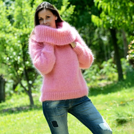 New Pink sexy hand knitted cowlneck mohair sweater by .