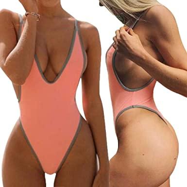 ALLureLove Swimsuits for Women Sexy Monokini Deep V One Piece .