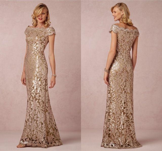 Online Shop Elegant Champagne Mother Of The Bride Dress Boat Neck .