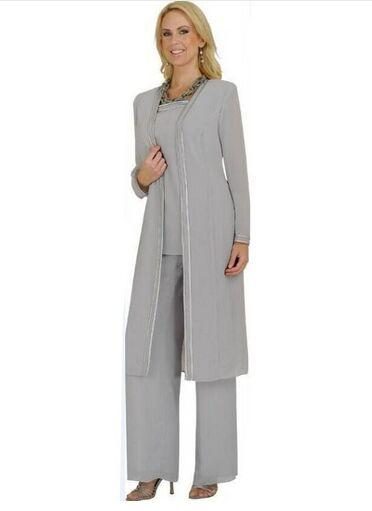 New Arrival 2016 Grey Mother Bride Pant Suits Plus Size Mother .