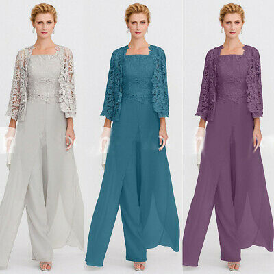 Mother Of the Bride Pant Suits Plus Size With Lace Jacket Women's .