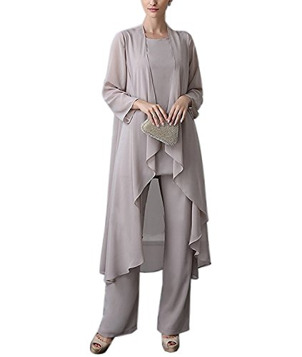 Newdeve Chiffon Mother of The Bride Pant Suits for Women 3 Pieces .