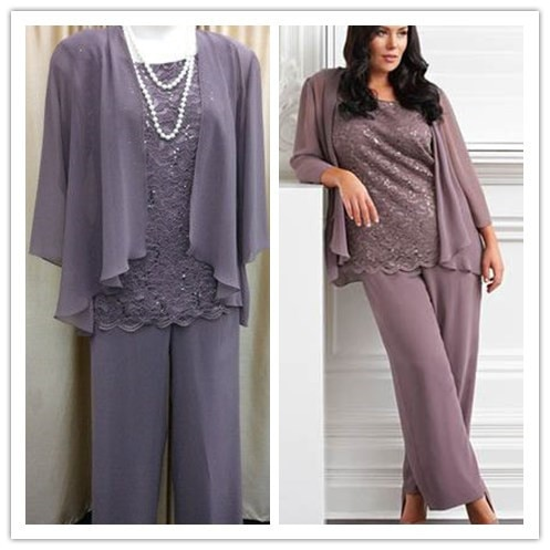 Gorgeous Lace Mother Of The Bride Pant Suits Plus Size Custom .