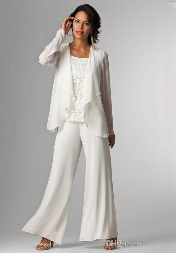 Ivory White Chiffon Lady Mother Pants Suits Mother Of The Bride .