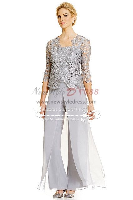 Silver grey 3PC Pantset for Summer wedding Mother of the bride .