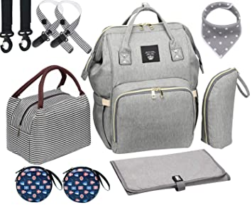 Amazon.com : Diaper Bag Set, 8-in-1 Baby Care Backpack for Mom Dad .