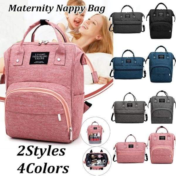 4 Colors Fashion Large Travel Mommy Backpacks Solid Color Oxford .
