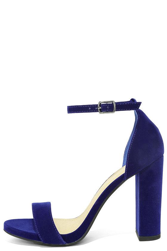 Chic Navy Blue Heels - Velvet Heels - Block Heels - $25.