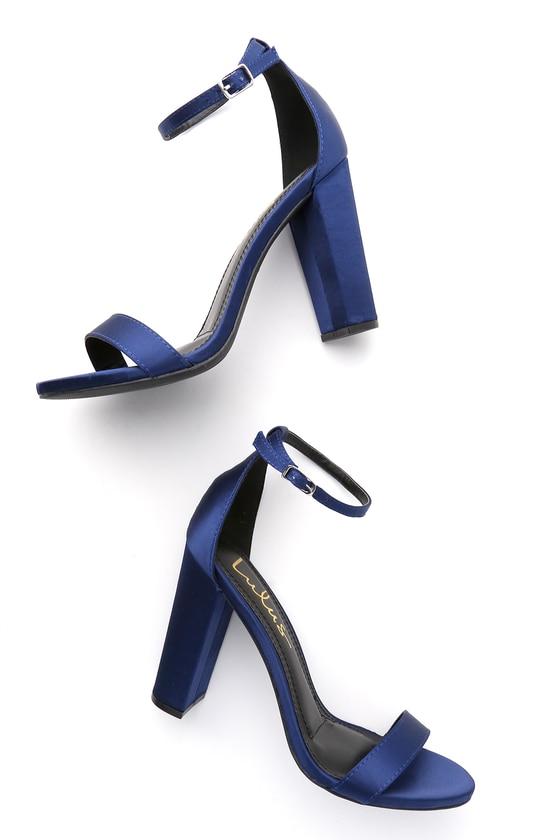 Sexy Navy Heels - Satin Heels - Ankle Strap Hee