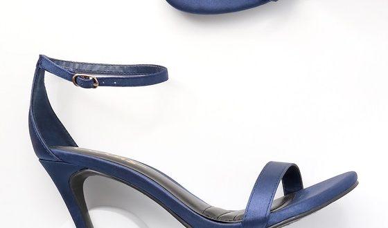 Navy Blue Heels - Ankle Strap Heels - Single Strap Hee