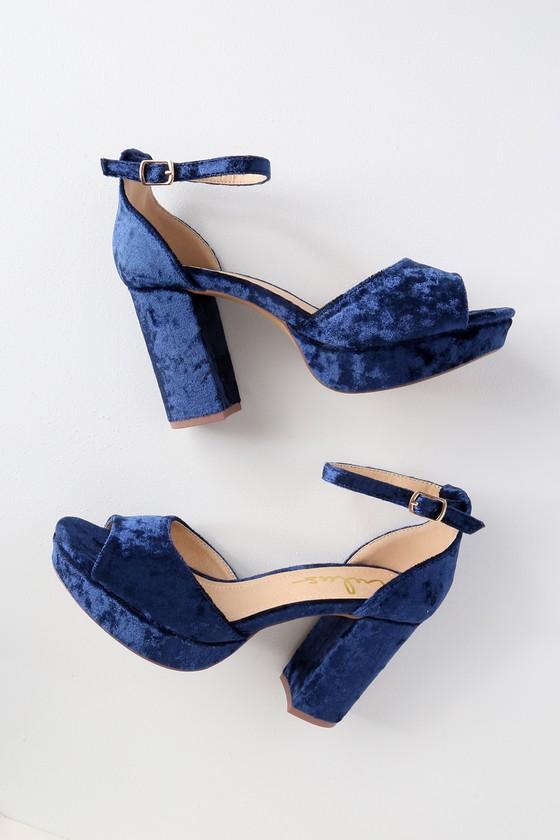 Stunning Velvet Heels - Navy Heels - Platform Heels - Blue Hee