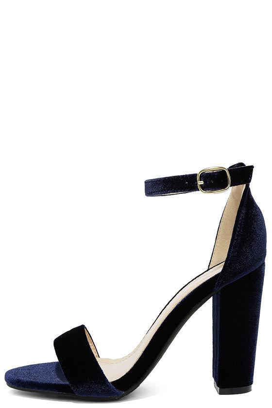 Cute Navy Blue Heels - Ankle Strap Heels - Dress Sandals - $28.
