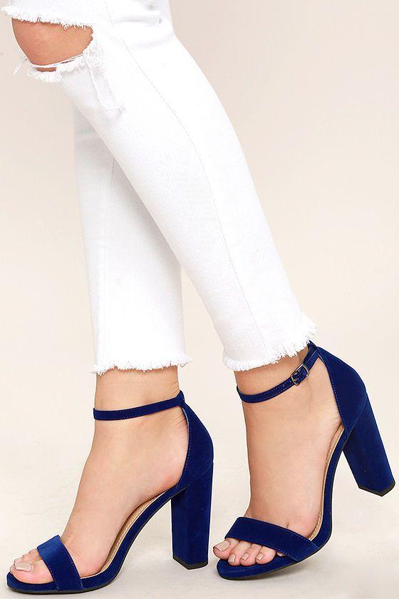 Viviana Navy Blue Velvet Ankle Strap Heels in 2020 | Strap heels .