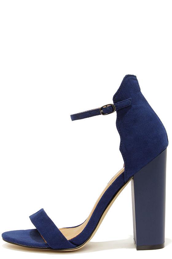 Cute Navy Blue Heels - Ankle Strap Heels - Dress Sandals - $79.