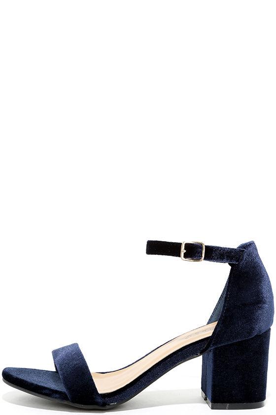 Chic Navy Velvet Heels - Velvet Heels - Block Heels - $29.